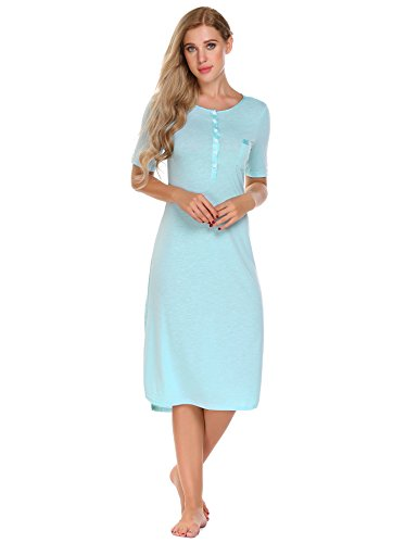 L'amore Women's Sleepwear Short Sleeve Cotton Sleepshirt Dress - Jersey Sleeveless Lined
