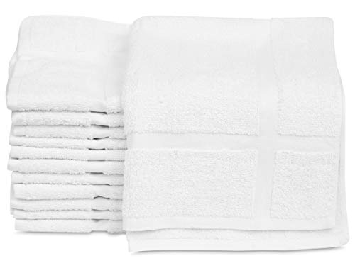GOLD TEXTILES 12 Pack New Cotton Economy Bath Mats (White,18x25 inches) Light Weight Fast Drying Commercial Grade Bath Rugs