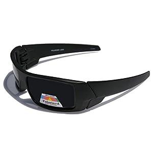 Men POLARIZED Limited Edition Dark Shades Motorcycle Sunglasses (Matte Black)