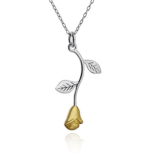 Silver 20mm Rose Leaf Pendants - Sterling Silver Flat Hanging Stem Rose Pendant Necklace with 18K Gold Plated Petals, 18