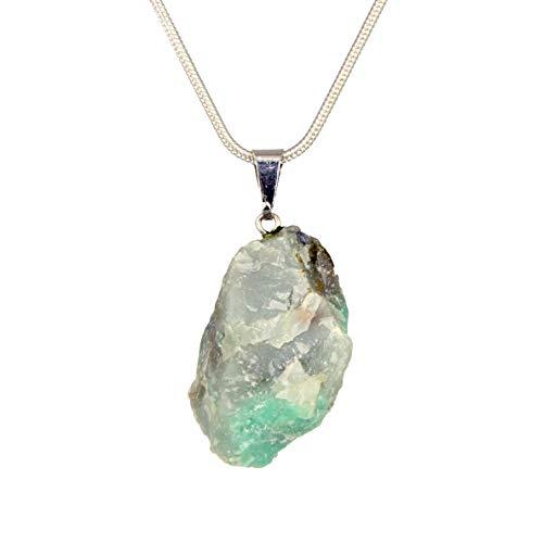 Genuine Premium Quality Healing Raw Gemstone Pendant Necklace- Amethyst, Apatite, Citrine, Emerald, Kyanite, Lepidolite, Clear & Rose Quartz, Tourmaline (Emerald) - Emerald Tourmaline Necklace