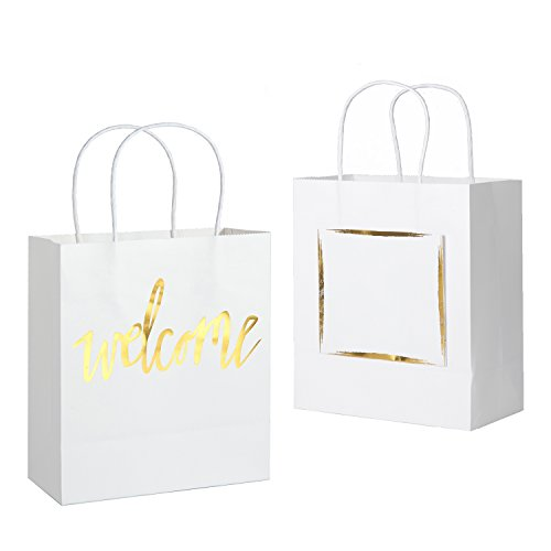 Ling's moment Set of 25 White Gold Wedding Welcome Gift Bags with Hangover Kit Pocket for Wedding Hotel Guests Weekend Destination Wedding Favors
