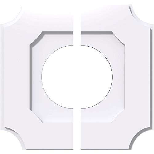 Ekena Millwork CMP12LE2-05000 12 in. OD x 5 in. ID Square Locke Architectural Grade PVC Contemporary Ceiling Medallion - 2 Piece