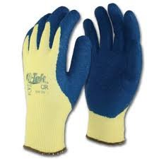 G-Tek CR 09-K1310/M Seamless Knit Kevlar Glove with Latex Coated Crinkle Grip on Palm and Fingers