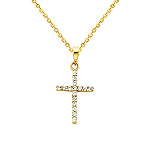 Wellingsale 14k Yelow Gold Polished Religious Cross CZ Cubic Zirconia Charm Pendant with 1.2mm Side Diamond Cut Cable Chain Necklace - - Cubic Zirconia Cross Charm