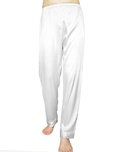 (Wantschun Womens Satin Silk Sleepwear Pyjamas Long Pants Nightwear Loungewear Pajamas Bottom Trousers White US Size L)