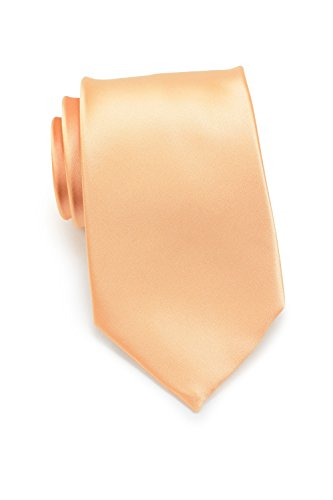 Bows-N-Ties Men's Necktie Solid Color Microfiber Satin Tie 3.25 Inches (Peach Apricot)