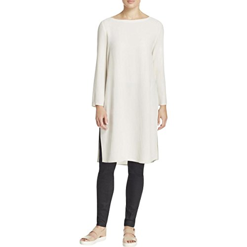 Eileen Fisher Silk Tunic - Eileen Fisher Bone Silk Georgette Crepe Bateau Neck K/L Dress (S)
