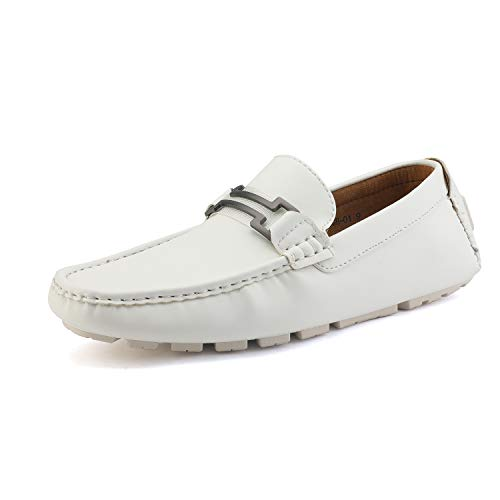 Bruno Marc New York Men's Hugh-01 White Faux Leather Driving Penny Loafers Boat Shoes - 11 M ()