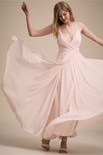 A Line V Neck Floor Length Chiffon Bridesmaid Dress Plus Size Long