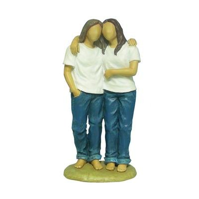 Price comparison product image 7 Inch 2 Women Blue Jeans Hugging Friends Forever Resin Figurine