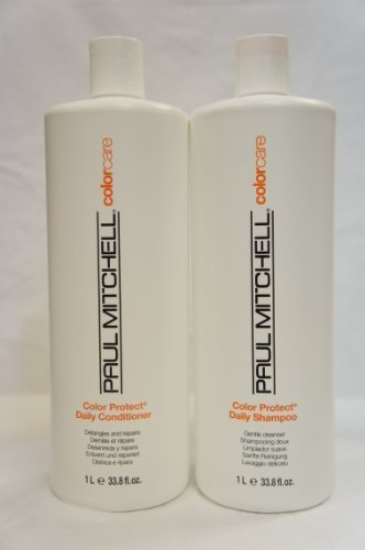 Protect Daily Shampoo and Conditioner Liter Duo 33.8 oz (Paul Mitchell Color Protect Daily Shampoo)