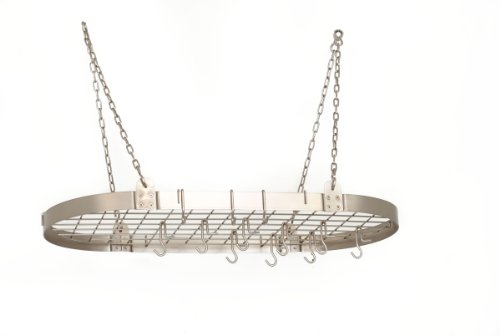 Old Dutch Oval Pot Rack with Grid & 12 Hooks, Satin Nickel