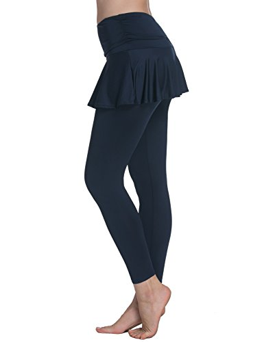 ChinFun Women's Sports Skirted Leggings Yoga Skirts with Spandex Tights Athletic Tennis Skorts Gym Active Running Bottoms Moisture Wicking Fashion Solid Navy Size L -