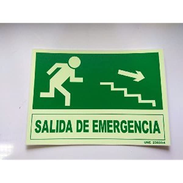 Cartel PVC Fotoluminiscente Salida Emergencia Escalera Abajo Derecha 30x21: Amazon.es: Industria, empresas y ciencia