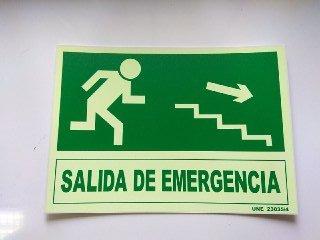 Cartel PVC Fotoluminiscente Salida Emergencia Escalera Abajo ...