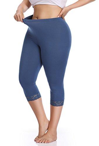 edff23fdabf Raddzo Women s Plus Size Cotton Capri Cropped Leggings Lace Trim Soft Tights  Pants