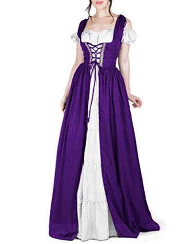 Jiangyinga Women's Medieval Dress Renaissance Lace Up Cosplay Gown Costumes Halloween Long (Lace Lace Up Wig)