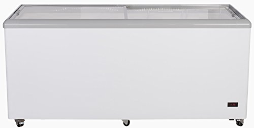 Chef's Exclusive CE206 Commercial Frost Free Sub Zero Mobile Ice Cream Display Chest Freezer 20 Cubic Feet Flat Glass Lid Top with Wire Baskets, 71 Inch Wide, White ()
