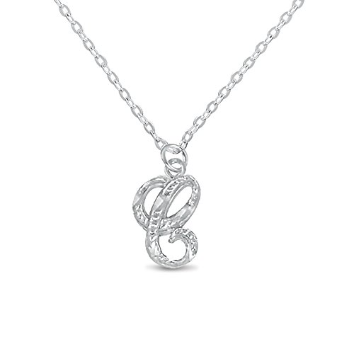 Silver Sterling Initial Necklace Personal Charm 3D Pendant DiamondCut One Letter ()