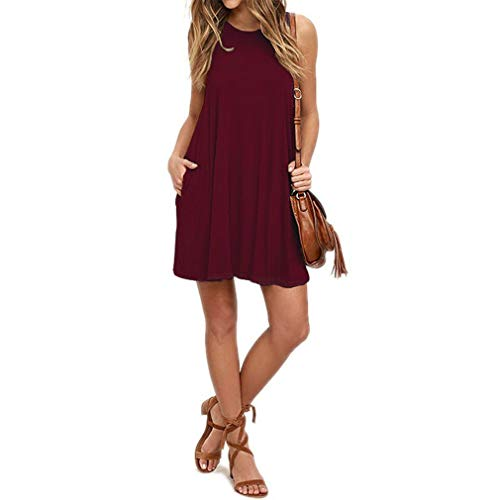 The Plus Project Sleeveless Maternity Dress Skirt, Women Comfort Tank Dress Pockets Swing T-Shirt Loose Casual Dresses(Wine Red,L)