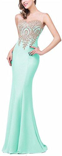 SHUNLIU Vestidos de Fiesta Largos Vestido Encaje de Mujer Elegantes de Noche Detrás de Perspectiva Hueco Verde