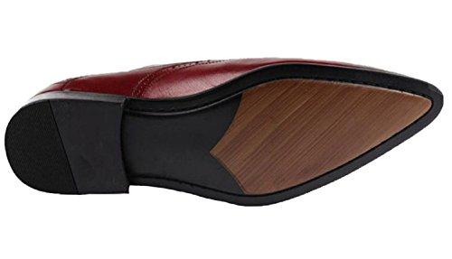 Santimon-mens Vera Pelle Nabuk Intagliata Scarpe Stringate Oxford Business Rosso