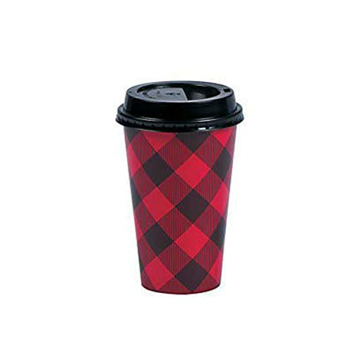 Disposable Coffee or Hot Chocolate Cups With Lids, 16 oz - Buffalo Plaid (Red, Black) - 24 Count by Live It Up! Party Supplies