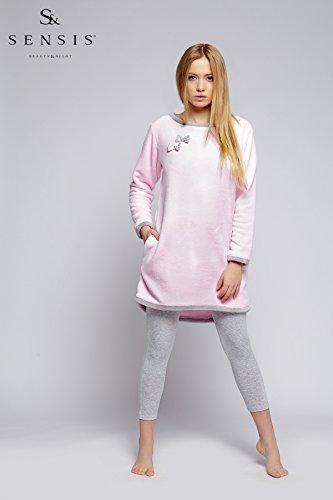 Sensis - Pijama - Manga Larga - para mujer Grau/Rosa