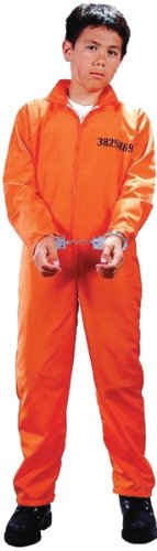 Child Got Busted Prisoner Costume - Medium (Orange Jumpsuit Costumes)