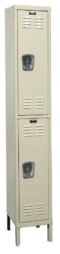 Hallowell U1558-2A-PT Parchment Steel Premium Wardrobe Locker, 1 Wide with 2 Opening, 2 Tier, 15