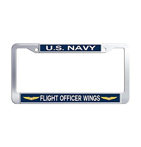 Hensonata U.S. Navy Flight Officer Wings Auto License Plate Frame, 2 Holes Licenses Plates Frames, Stainless Steel Metal Car Licenses Plate Covers Holders US Screws