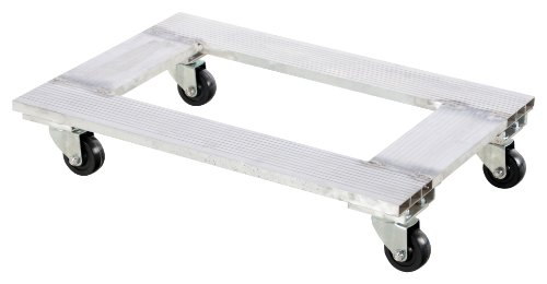 Vestil ACP-2130-9 Aluminum Channel Dolly with Hard Rubber Caster, 900 lbs Capacity, 30'' Length x 21'' Width x 6'' Height Deck by Vestil (Image #2)