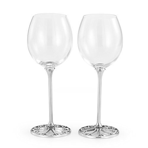 Royal Selangor Hand-Finished Tracery Red Wine Glasses (Pair) - Best Wedding Gift 23 cm (H) x 8 cm (DIA) by Royal Selangor