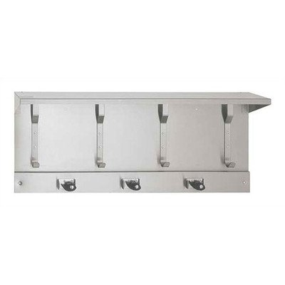 Utility Hook Strip with Shelf and Mop Holders Arrangement: 3 Mop Holders and 4 Utility Hooks by American Specialties