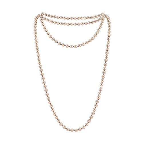 Radtengle Long Pearl Necklace for Women Girls 69 Inch Layered Strands Necklace Champagne,Free Size