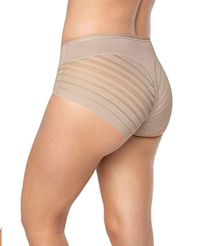 Leonisa Women's No Show Invisible Comfy Tummy Control Classic Panty, Nude, Large