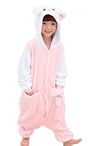 "Tonwhar Children's Halloween Costumes Kids Kigurumi Onesie Animal Cosplay (105(height:45.27""-49.2""), Kitty)"