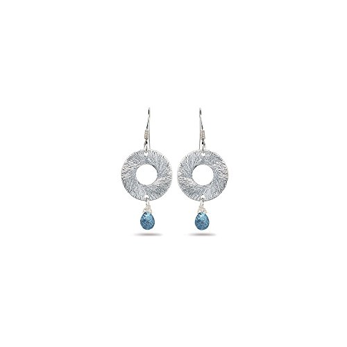 2.00 Cts Swiss Blue Topaz Circle Drop Earrings in Sterling Silver - Valentine's Day Sale