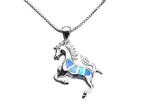 - ROSE CY RC Women Girls Jewellery Blue Opal Horse 925 Sterling Silver Pendant Necklace with Curb Chain 18In
