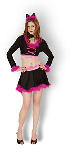 New Womens Adult Black Pink Purring Feline Cat Furry Fancy Dress Costume Outfit ()