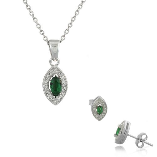 Marquise White Charms (925 Sterling Silver Green White CZ Marquise Charm Womens Pendant Necklace Stud Earrings Set)