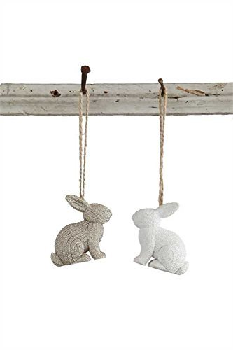 Bunny Rabbit White & Grey Resin Hanging Tree Ornaments -Set of 2 -
