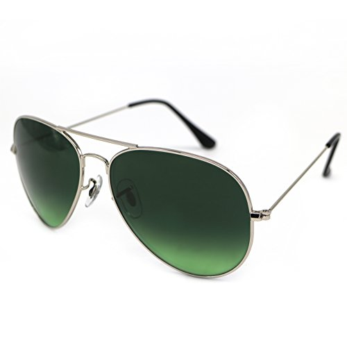 Aviator Metal Light Mirrored Sunglasses Gradient Lens UniSex Non Polarized by HMIAO (Silver Frame, Grey Green)