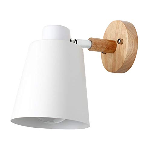 lightclub 90 Degree Adjustable Nordic Wooden Modern Wooden Wall Mounted Wall Light Bedside Sconce LED Light Steering Head Stair Lamp with lampshade White]()