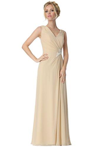 SEXYHER correas regulares V-cuello de las damas de honor vestido de noche formal -EDJ1818 LightBeige-92SC