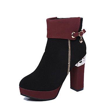 Heart&M Damen Schuhe Nubukleder Winter Komfort Modische Stiefel Stiefel Blockabsatz Spitze Zehe Booties Stiefeletten Schnalle Reißverschluss Für burgundy