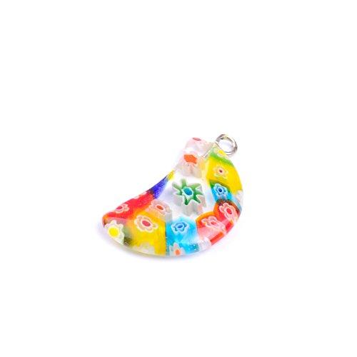 Multicolor Lampwork Glazed Glass Pendant Charm Pendant For Necklace Jewelry Making (Multicolor) (Multi Color Lampwork Glass)