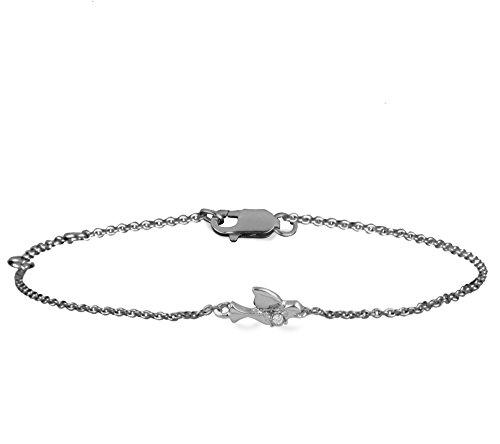 Or Blanc 9 ct Bracelet Diamant en forme de Oiseau, 0.03 Ct Diamant, GH-SI, 1.55 grammes.