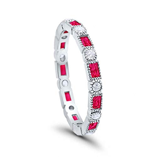 Blue Apple Co. 3mm Art Deco Full Eternity Wedding Band Baguette Simulated Ruby Round Cubic Zirconia 925 Sterling Silver, Size-5